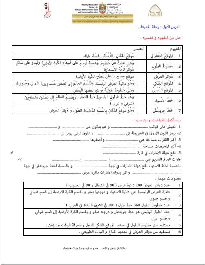 مذكرة شاملة في الدراسات الاجتماعية الوحدة الاولي والثانية للصف الرابع