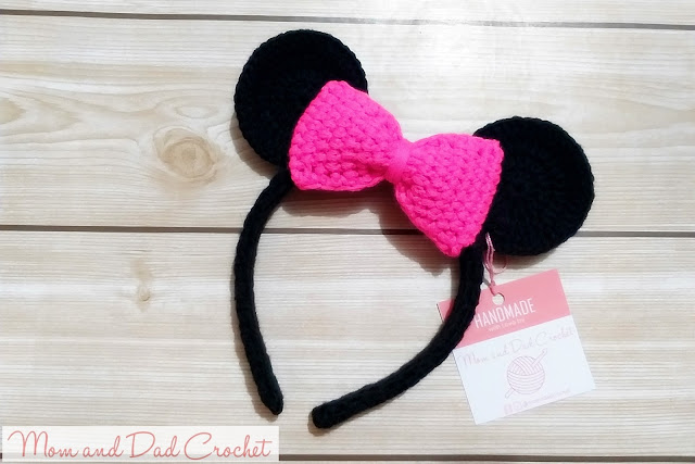 Mom & Dad Crochet, crochet headband, Minnie Mouse, crochet minnie mouse headband,