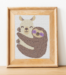 Llama and Sloth Cross Stitch Design on Patreon