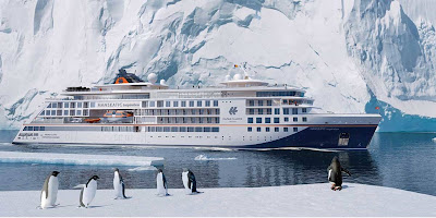 Artists Rendering of Hapag-Lloyd's Latest Luxury Expedition Ship - Hanseatic Inspiration - Named in Hamburg Germany by Laura Dekkar