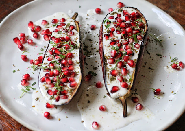 Eggplant with Buttermilk Sauce and Pomegranate
