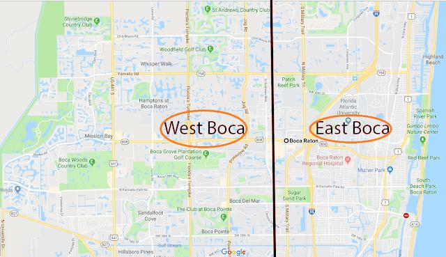 Regiões de Boca Raton: oeste e leste
