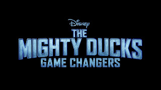 The Mighty Ducks: Game Changers written in capitals with a metallic look