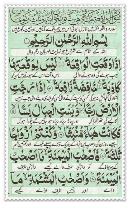 Surah e Waqia Urdu Translation