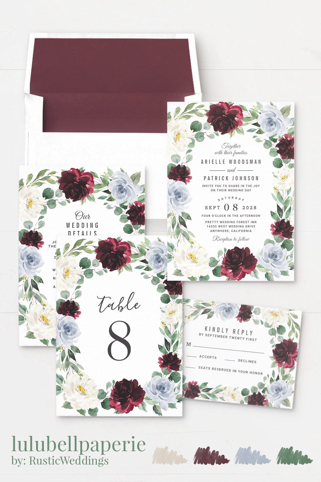 Dusty Blue, Burgundy, Green and Beige Watercolor Floral Winter Wedding Invitation Suite
