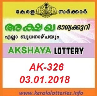 AKSHAYA (AK-326) LOTTERY RESULT ON 03 JANUARY, 2018