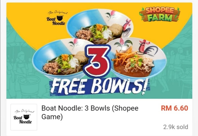 3 Bowl RM6.60 (Shopee Game)