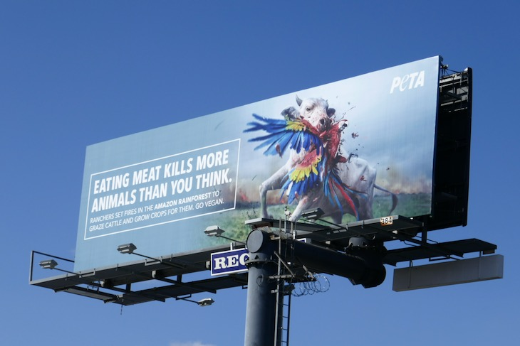 Eating meat kills more animals than you think Peta billboard