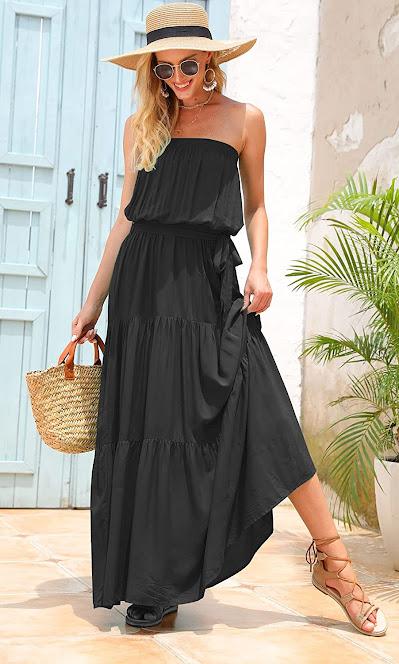 Elegant Black Strapless Maxi Dresses for Women
