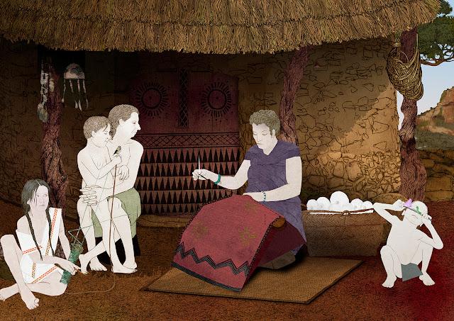 niños, mujeres, cabaña, eneolitico, aguja, cosiendo