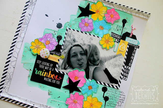 """ Rainbow"" layout by Bernii Miller using the Clique Kits -Clique into color kit."