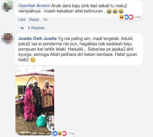 Aksi Pelajar Tahfiz Selamba Pakai Baju Kurung Sumbangan Penderma Buat Ramai Terhibur