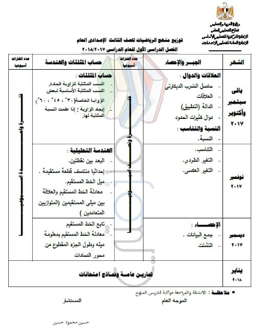 توزيع منهج الرياضيات للصف الثالث الإعدادي الترم الاول 2018