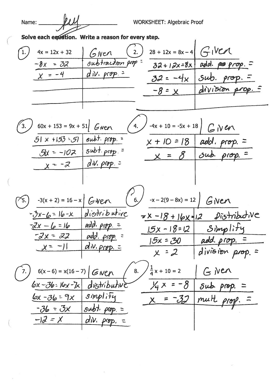 Mr Landers Math Classes HHS Honors Geometry 922 – Algebraic Proofs Worksheet with Answers