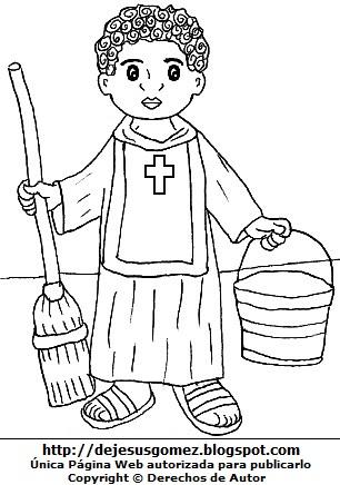Imagen de San Martín de Porres con su balde y escoba para colorear pintar imprimir. Dibujo de San Martín de Porres de Jesus Gómez