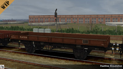Fastline Simulation: A clean Dia. 1/434 22t Plate wagon in its original pre 1964 Bauxite stands waiting ready for another load.