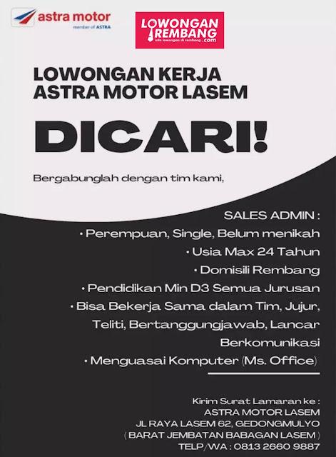 Lowongan Kerja Sales Admin Astra Motor Lasem Rembang