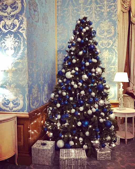 Christmas tree in The Blue Room at Thoresby Hall, Nottinghamshire