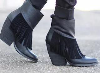 Women's Zipper Tassel Mid-Calf Boots Closed Toe Cloth Chunky Heel Boots