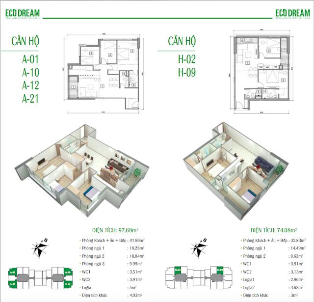 Thiết kế căn hộ loại A và H chung cư Eco Dream