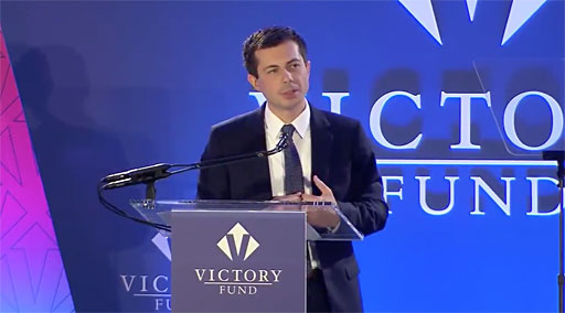 Mayor Pete Buttigieg wowed the crowd at this year's LGBTQ Victory Fund brunch in Washington DC.