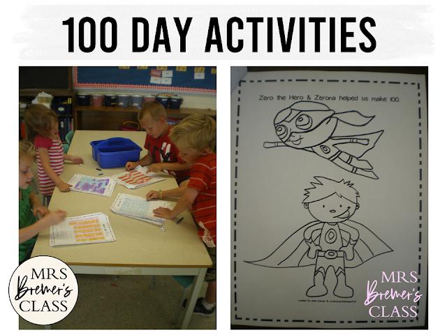 100 day activities for Kindergarten and First Grade