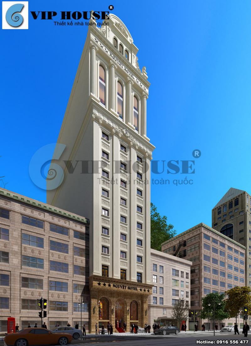 Hình ảnh: Thiết kế khách sạn 3 sao cổ điển trang trí ngoại thất bằng những hoa văn thể hiện sự tinh xảo và tỉ mỉ.