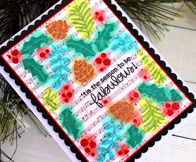 Tis' the Season to be Fabulous by Larissa Heskett for Newton's Nook Designs using Holiday Foliage Stencil, Frames and Flags Die Set, WoW Embossing Glitter Powder, TE Cardstock & Distress Oxide Inks #newtonsnook #wowembossing #holidaycards