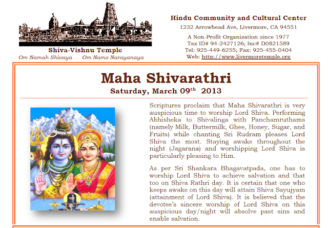 Maha Shivarathiri Celebrations Info