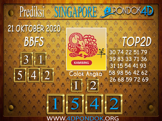 Prediksi Togel SINGAPORE PONDOK4D 21 OKTOBER 2020