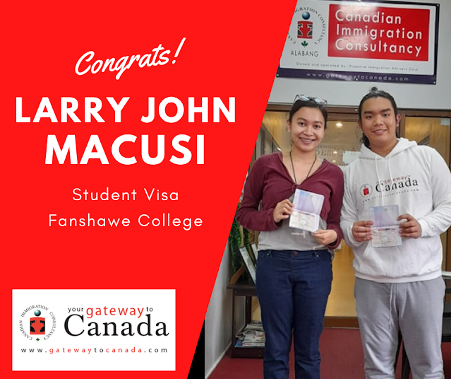 Larry John Macusi is going to Fanshawe College. Congrats!
