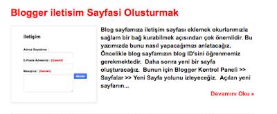 Blogger İletişim Sayfası Oluşturmak