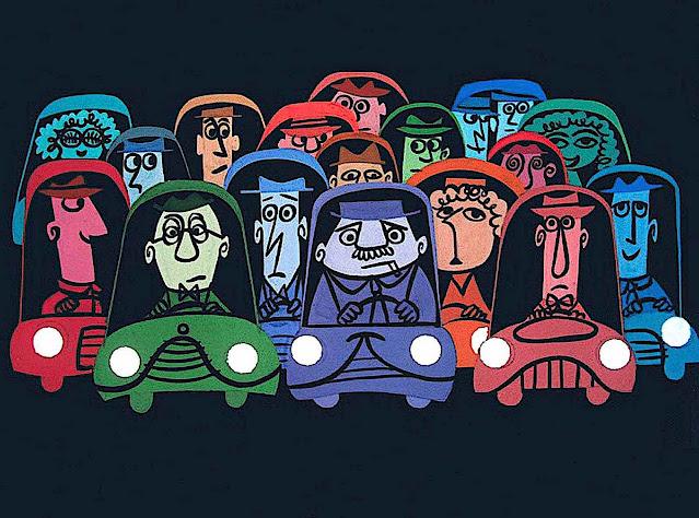 UPA animation, crowded car traffic