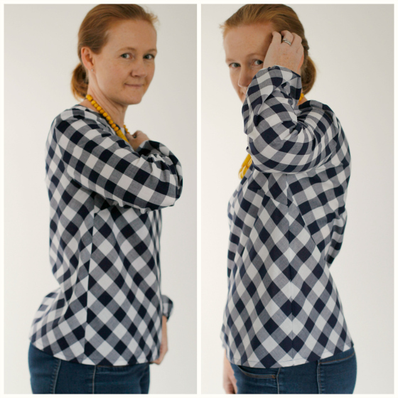 photo showing the side seams of a top to demonstrate the matching of gingham stripes in the fabric