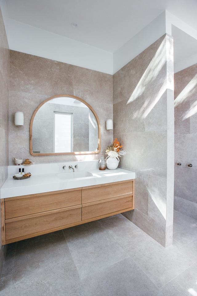 Ensuite master bathroom vanity at the Blue Lagoon Build