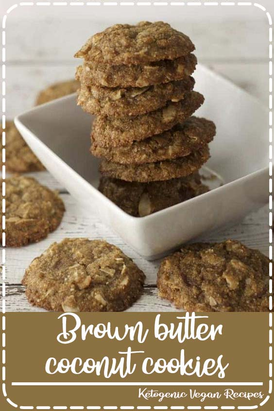These low carb brown butter coconut cookies are loaded with dried coconut chips  Brown butter coconut cookies