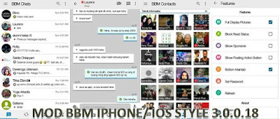 BBM Mod Iphone / IOS Versi Clone Fitur Block Read Status + Full DP Base 3.0.0.18 Apk by Erwin Tommy