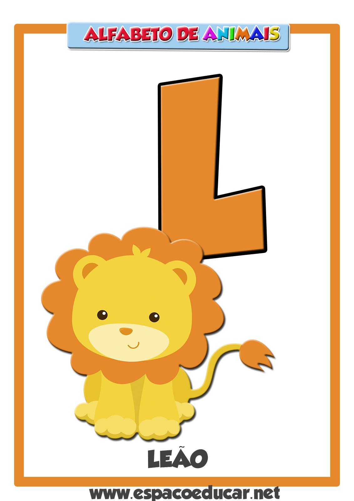 Super ESPAÇO EDUCAR: Alfabeto de animais: Letra L, do leão! KU25