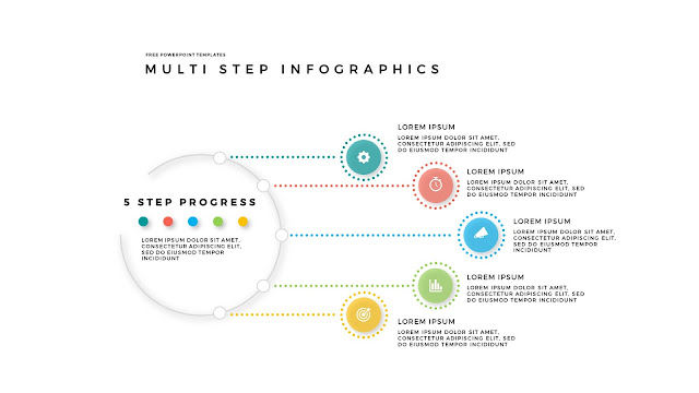 5 Step Circular Progress Infographics for PowerPoint Templates in White Background
