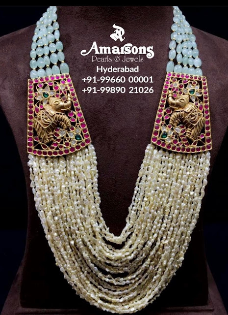 Pearls Long Chain with Elephant Design