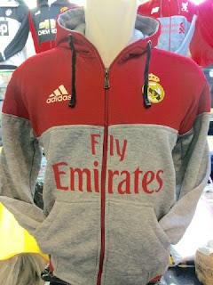 gambar detail photo kamera Jaket hoodie Real madrid warna merah abu-abu terbaru musim 2015/2016 di enkosa sport kualitas grade ori