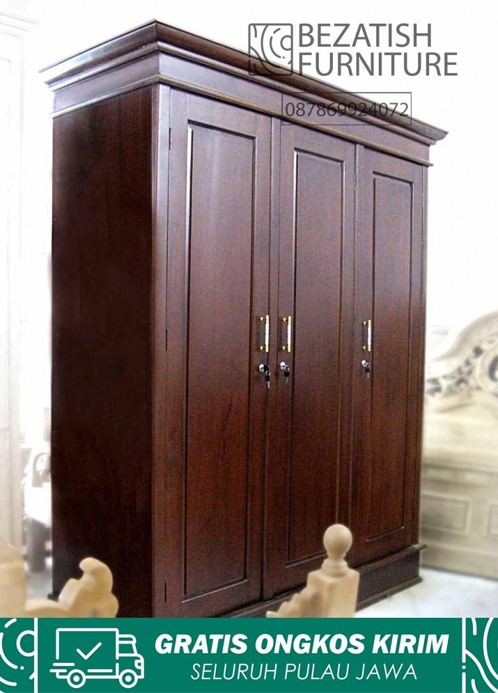 lemari baju 3 pintu minimalis kayu jati