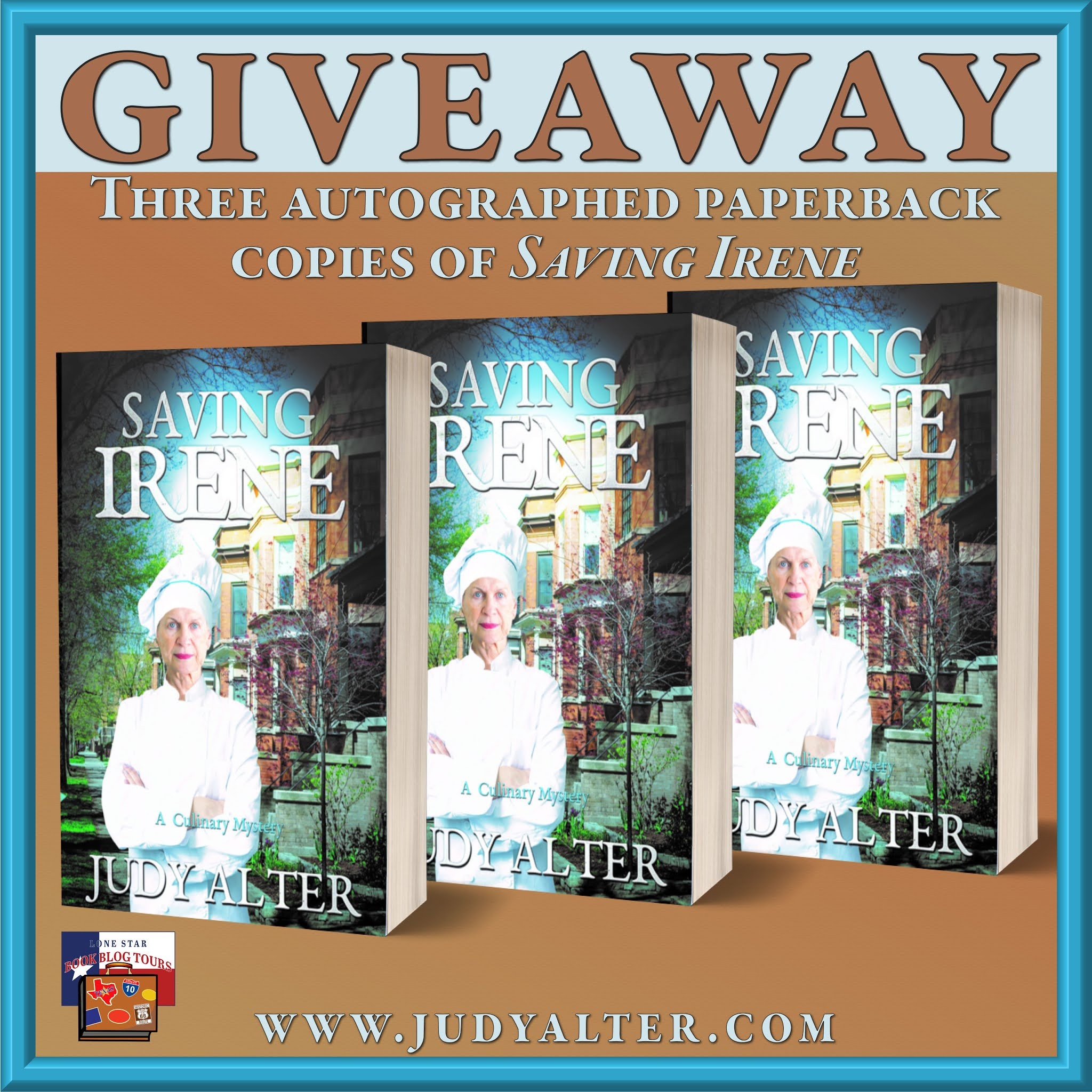 Saving Irene blitz giveaway graphic. Prizes to be awarded precede this image in the post text.
