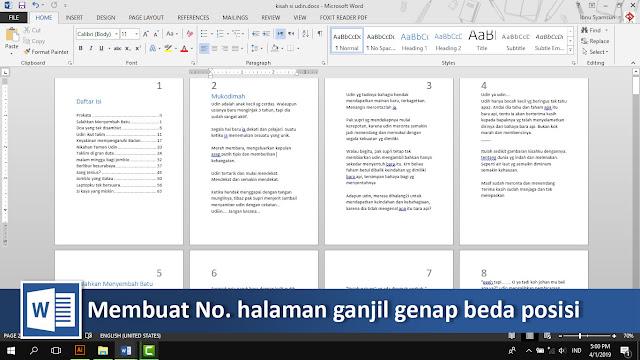 Cara membuat nomor halaman genap dan ganjil beda posisi di word + video