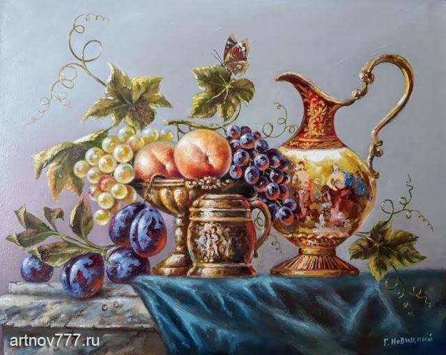 Персики, сливы и виноград - картина на холсте