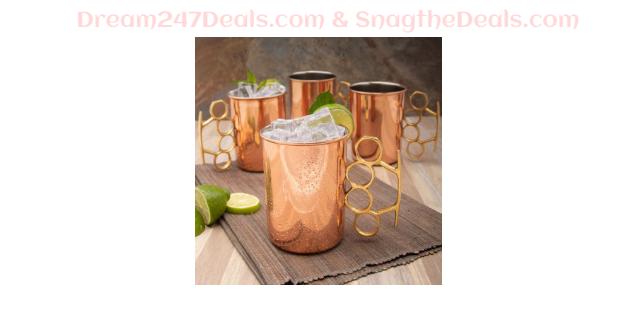 4 Brass Knuckle 20oz Nickel & Copper Moscow Mule Mugs By ODI