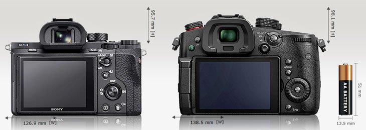 Сравнение габаритов и размеров экранов Panasonic Lumix GH5s и Sony A7S II