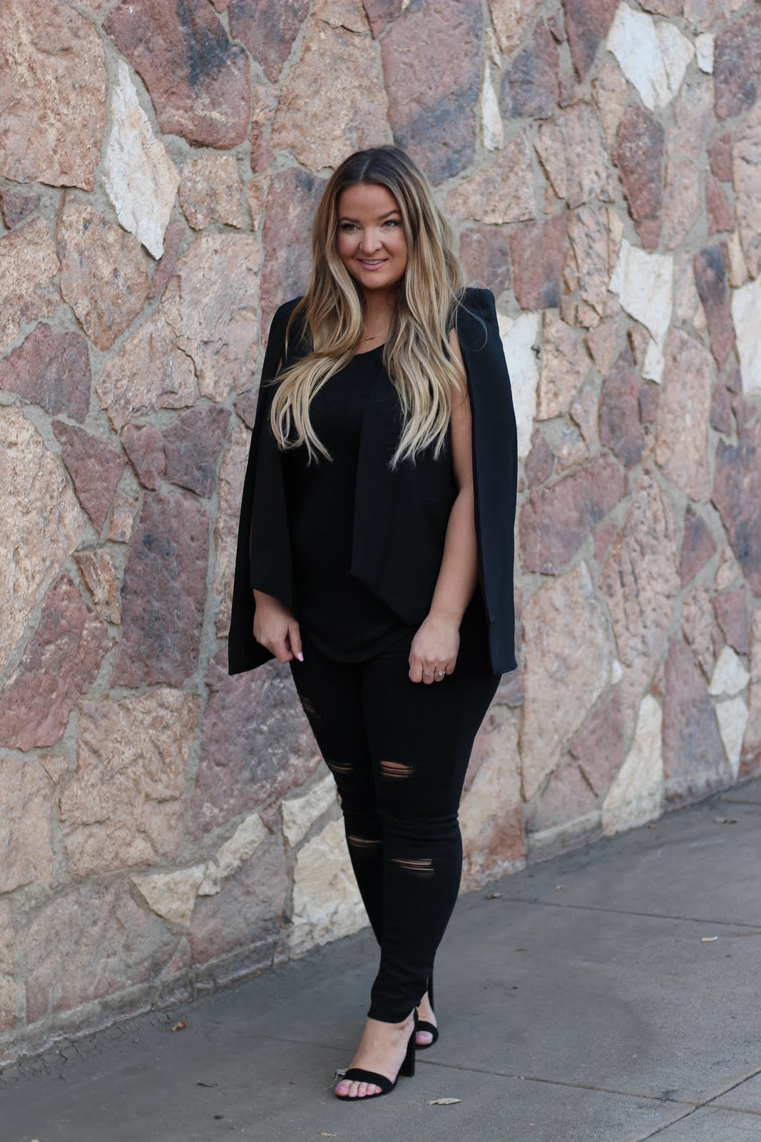 Black Monochromatic Outfit by popular Denver fashion blogger Delayna Denaye
