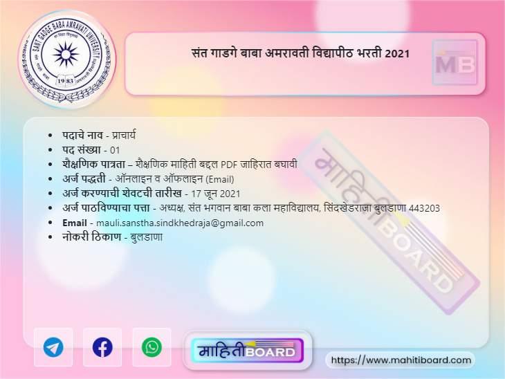 SGBAU Amravati Bharti 2021
