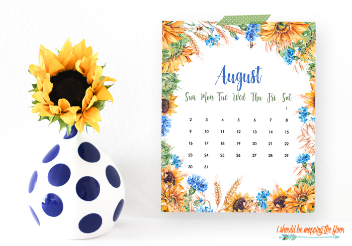 Sunflower Calendar Printable